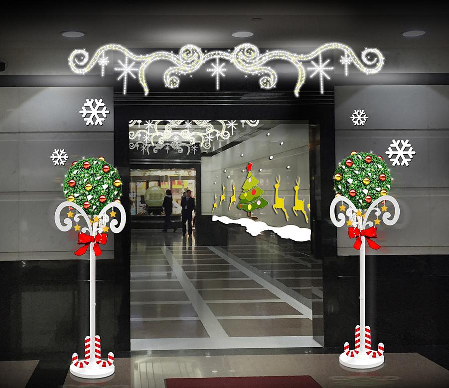 电梯口如何进行圣诞节装饰